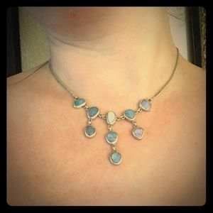 Opal and Sterling silver drop necklace